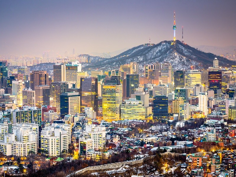 Seoul, South Korea city skyline.
